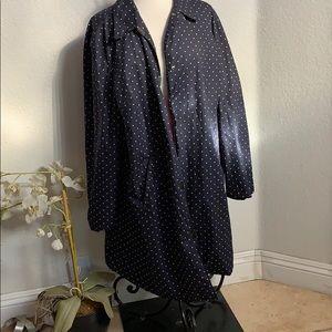 Ralph Lauren Navy Blue Polka Dot Long Coat